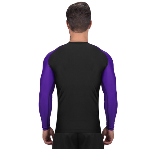 Elite Sports Standard Black/Purple Long Sleeve Wrestling Rash Guard