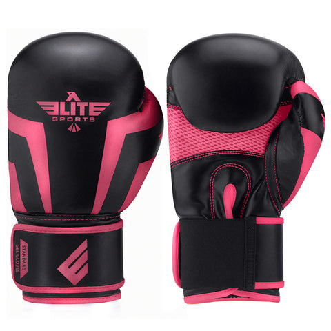 Elite Sports Standard Series Black/Pink Kids Boxing Gloves