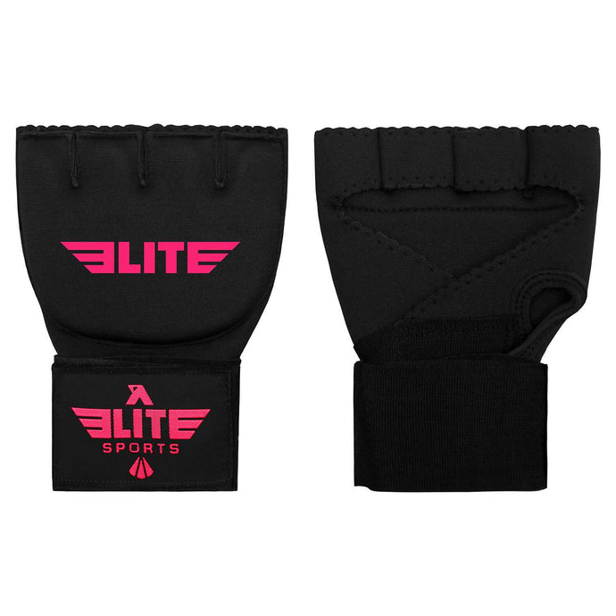 Elite Sports Black/Pink Cross Muay Thai Quick Gel Hand Wraps