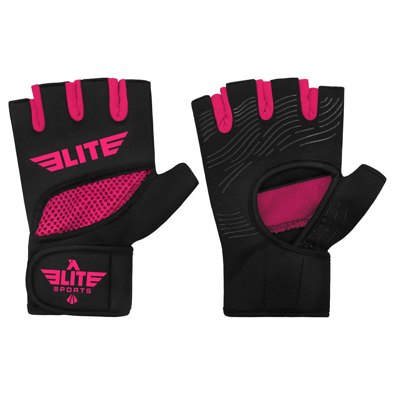 Load image into Gallery viewer, Elite Sports Black/Pink Cross Training Gel Hand Wraps