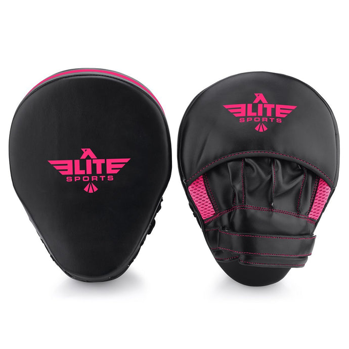 Elite Sports Essential Curved Black/Pink Muay Thai Punching Mitts