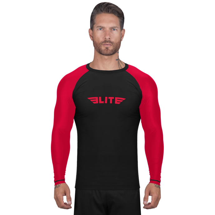 Elite Sports Standard Black/Red Long Sleeve Brazilian Jiu Jitsu BJJ Rash Guard