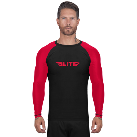 Elite Sports Standard Black/Red Long Sleeve Training Rash Guard