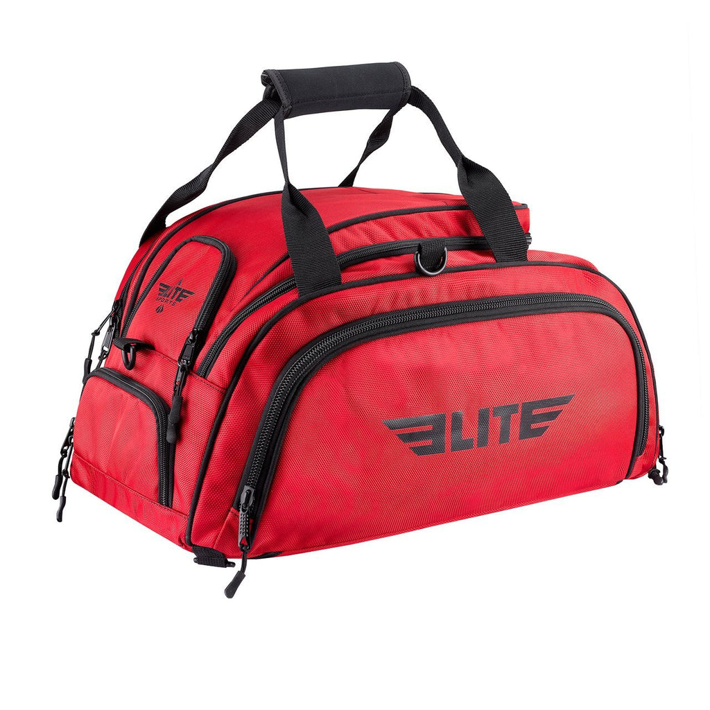 Elite Sports Warrior Series Medium Red Boxing MMA BJJ Gear Gym Duffel Bag & Backpack