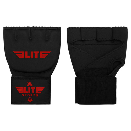 Elite Sports Black/Red Cross Muay Thai Quick Gel Hand Wraps