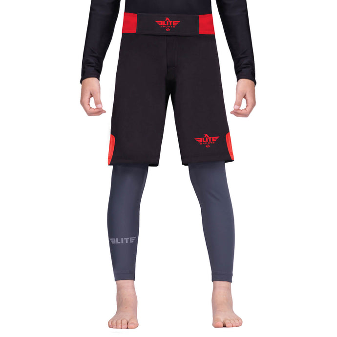 Elite Sports Jack Series Black/Red Kids Wrestling Shorts
