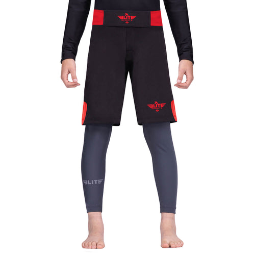 Elite Sports Jack Series Black/Red Kids Bjj NO-GI Shorts