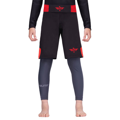Elite Sports Jack Series Black/Red Kids Training Shorts