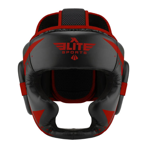 Elite Sports Star Series Sparring Black/Red Muay Thai Headgear