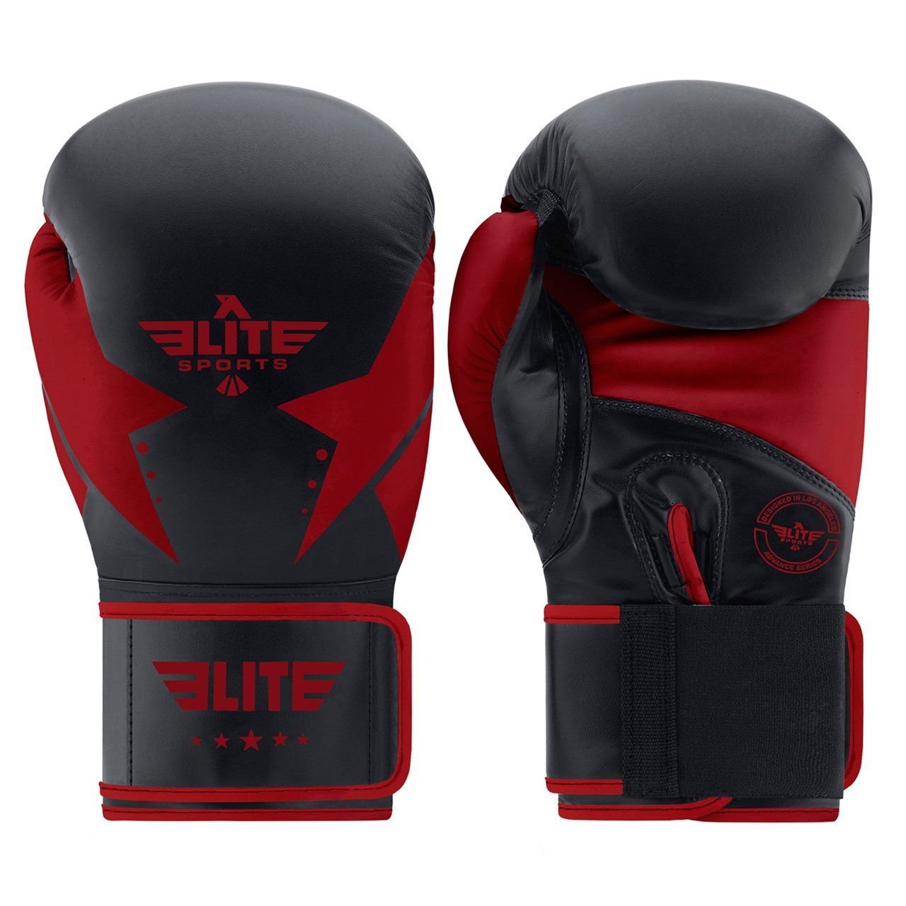 Load image into Gallery viewer, Elite Sports Star Series Black/Red Adult Boxing Gloves