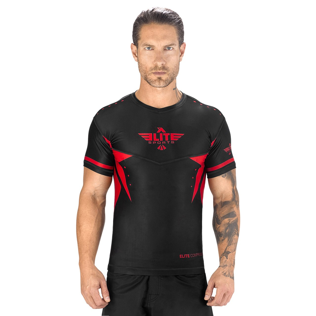 Load image into Gallery viewer, Elite Sports Star Series Sublimation Black/Red Short Sleeve MMA Rash Guard