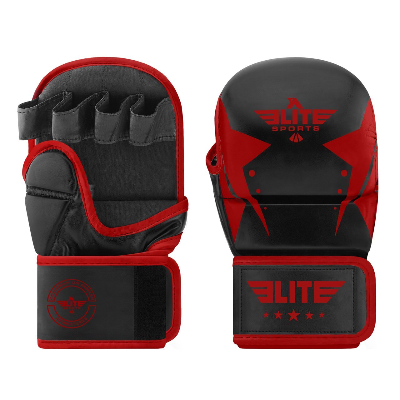 Load image into Gallery viewer, Elite Sports Star Series Black/Red MMA Grappling Gloves