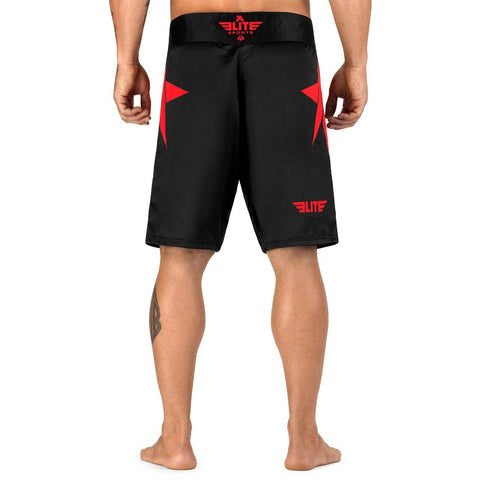 Elite Sports Star Series Sublimation Black/Red Brazilian Jiu Jitsu BJJ No Gi Shorts