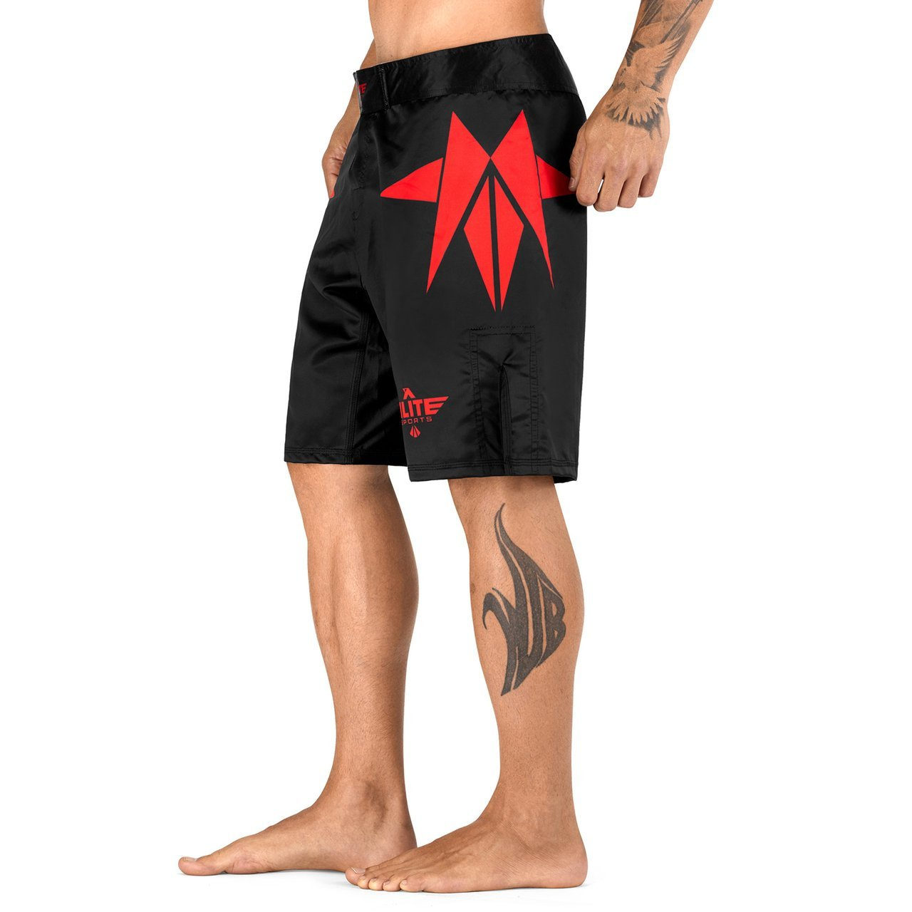 Load image into Gallery viewer, Elite Sports Star Series Sublimation Black/Red MMA Shorts
