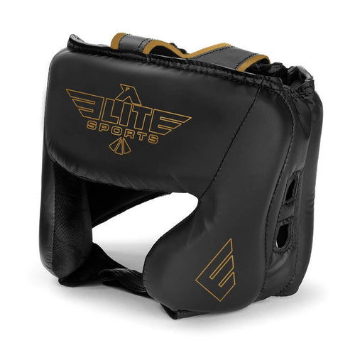 Elite Sports Standard Series Sparring Black/Gold Boxing Headgear
