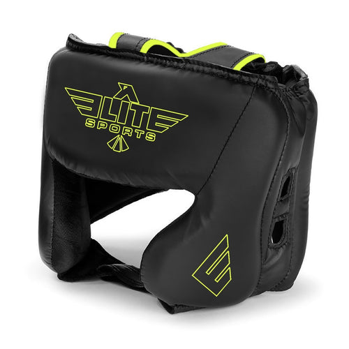 Elite Sports Standard Series Sparring Black/Green Boxing Headgear