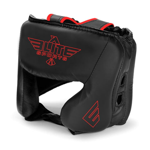 Elite Sports Standard Series Sparring Black/Red Wrestling Headgear