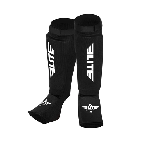 Elite Sports Standard Black Karate Shin Guards