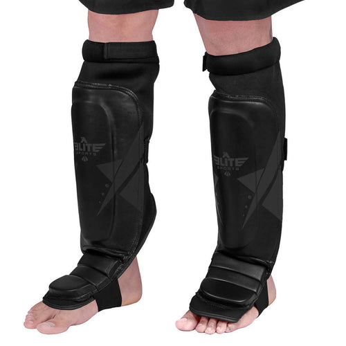 Elite Sports Star Series Black/Black Karate Shin Guards