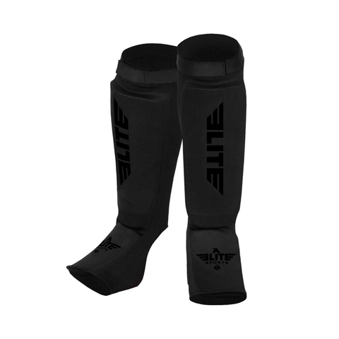 Elite Sports Standard Black/Black Karate Shin Guards