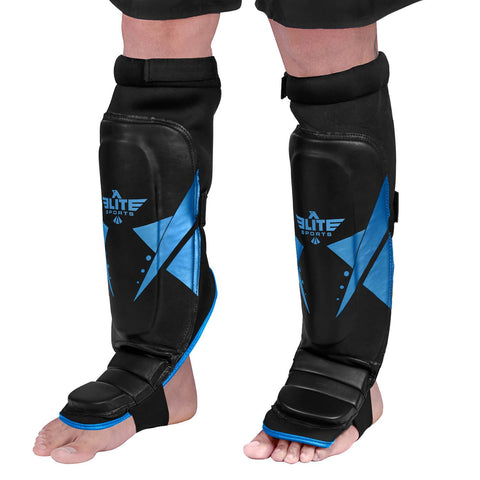 Elite Sports Star Series Black/Blue Muay Thai Shin Guards