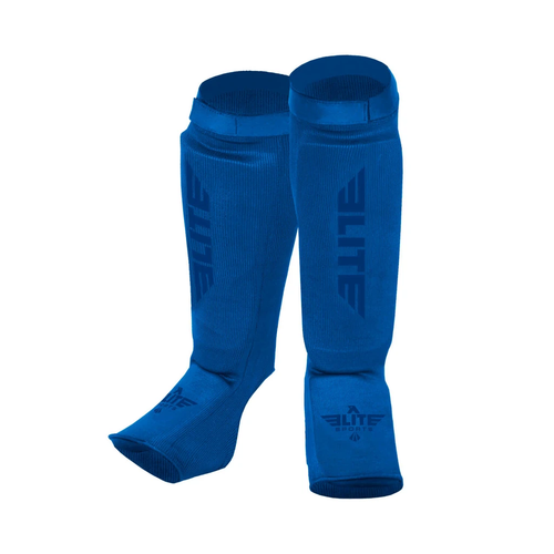 Elite Sports Standard Blue Karate Shin Guards