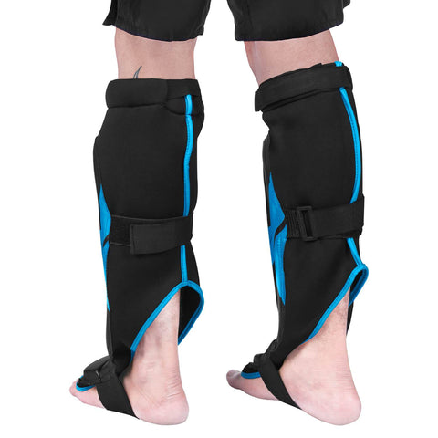 Elite Sports Star Series Black/Blue Taekwondo Shin Guards