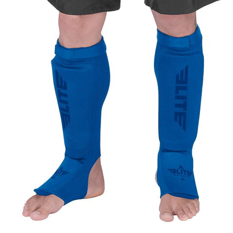 Elite Sports Standard Blue Wrestling Shin Guards