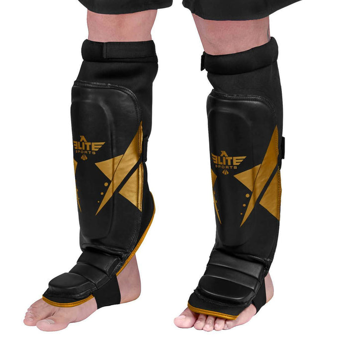 Elite Sports Star Series Black/Gold Training Shin Guards