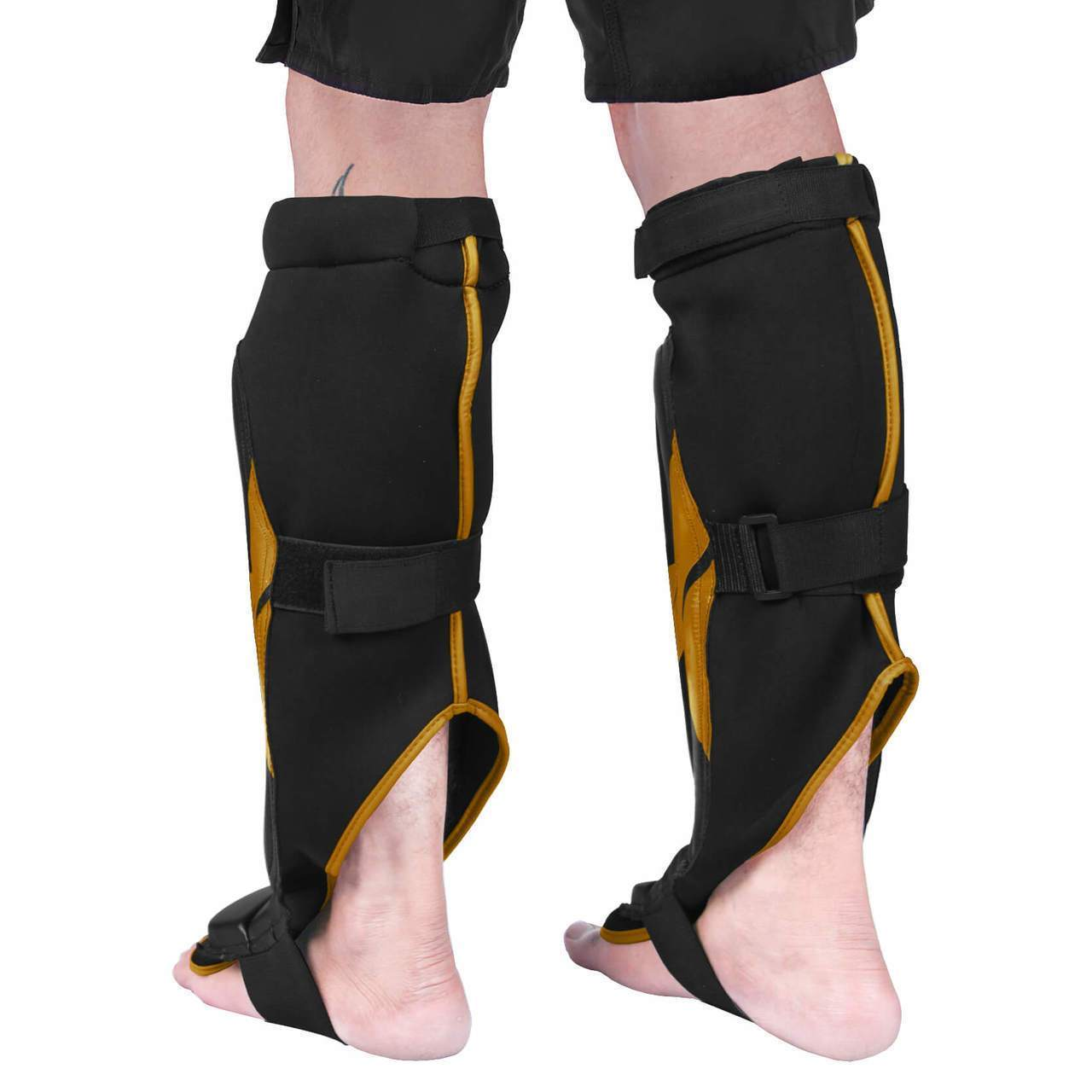 Load image into Gallery viewer, Elite Sports Star Series Black/Gold Muay Thai Shin Guards