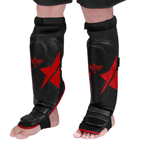 Elite Sports Star Series Black/Red Taekwondo Shin Guards