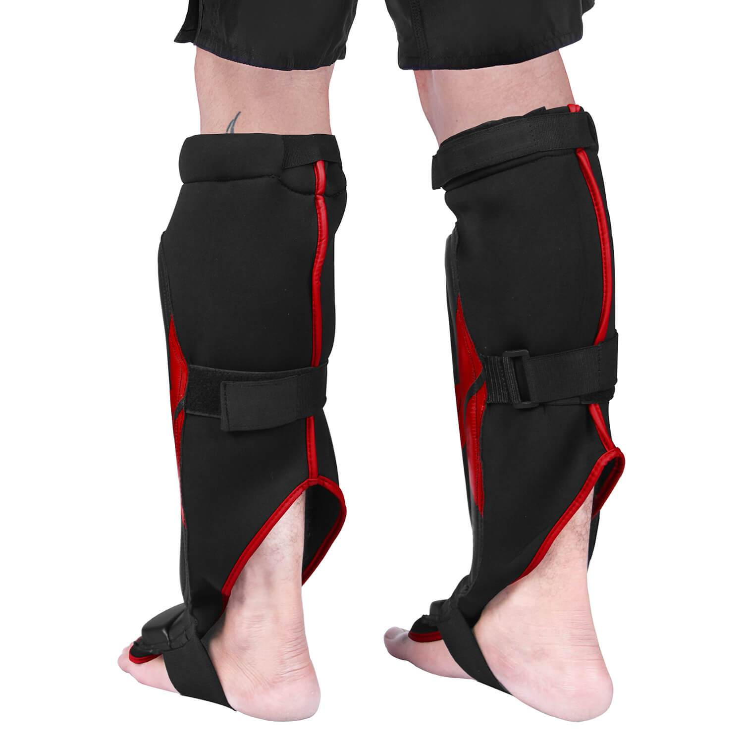 Load image into Gallery viewer, Elite Sports Star Series Black/Red MMA Shin Guards