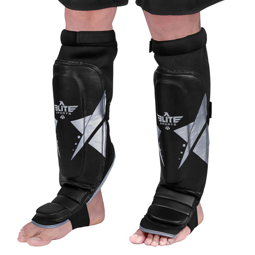 Elite Sports Star Series Black/Silver Karate Shin Guards