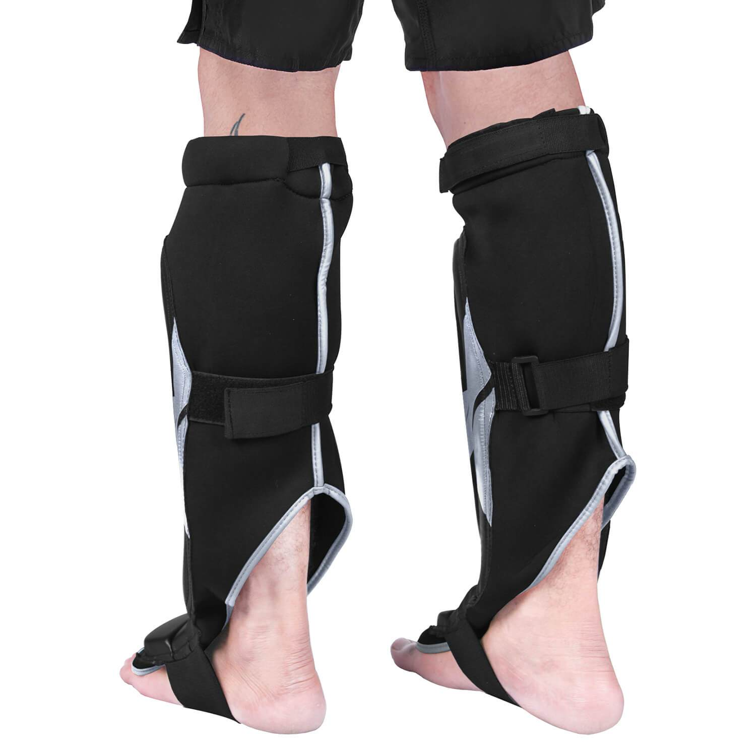 Load image into Gallery viewer, Elite Sports Star Series Black/Silver MMA Shin Guards