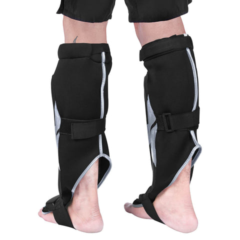 Elite Sports Star Series Black/Gray Karate Shin Guards
