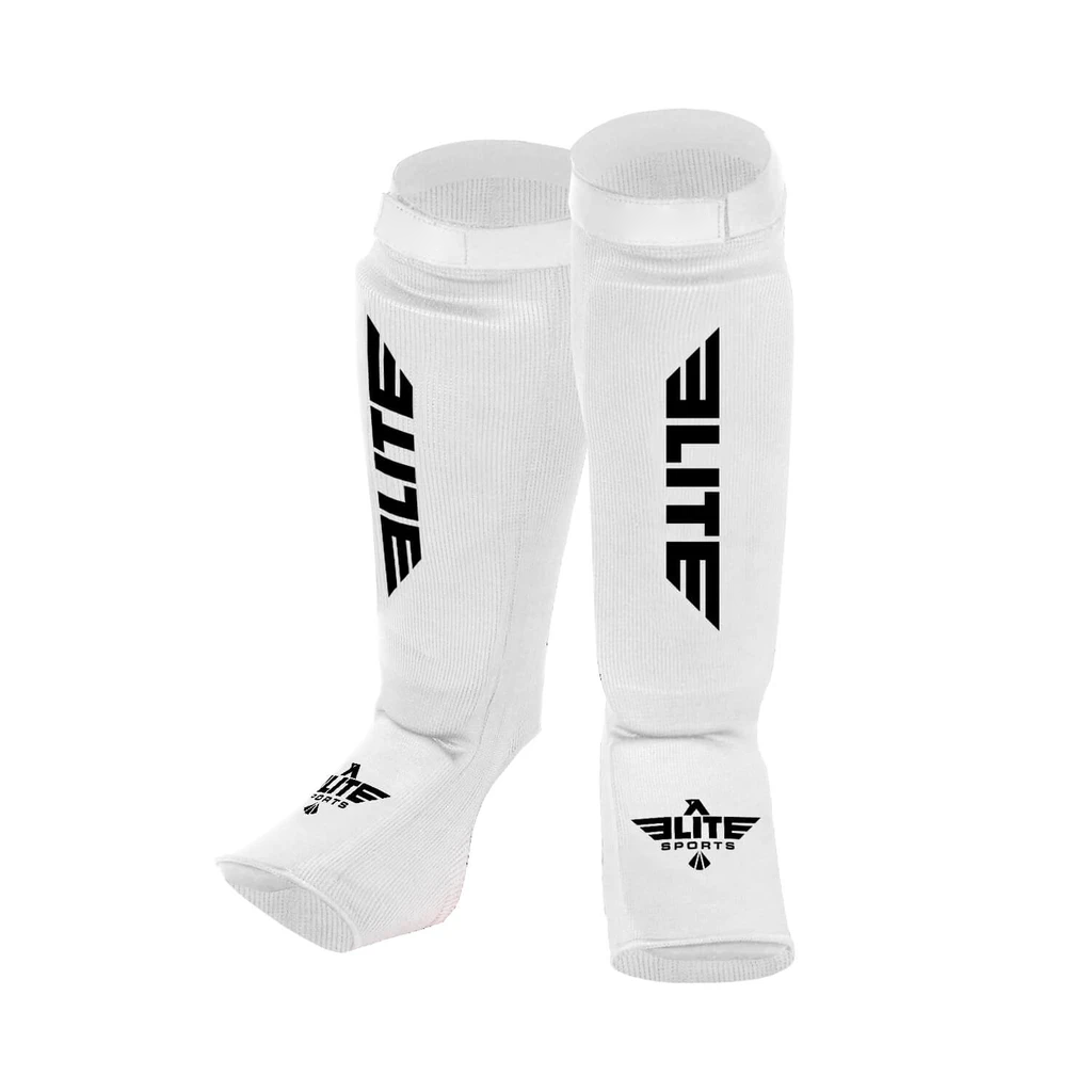 Elite Sports Standard White Muay Thai Shin Guards
