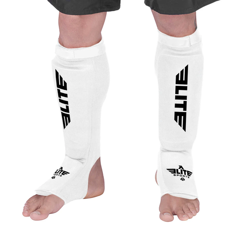 Elite Sports Standard White Wrestling Shin Guards