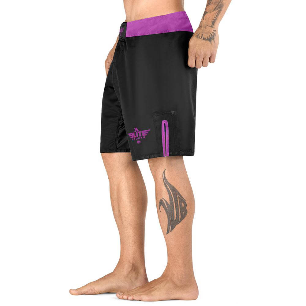 Load image into Gallery viewer, Elite Sports Black Jack Series Black/Purple MMA Shorts