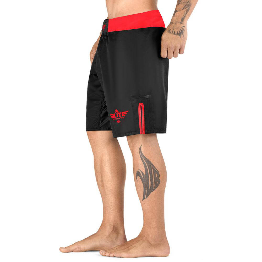 Load image into Gallery viewer, Elite Sports Black Jack Series Black/Red MMA Shorts