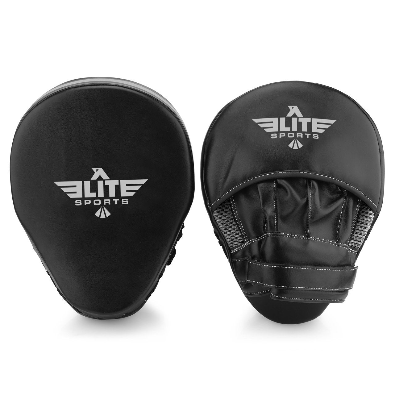 Load image into Gallery viewer, Elite Sports Essential Curved Black/Silver Boxing Punching Mitts