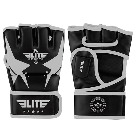 Elite Sports Pro Style Black/Silver MMA Half Mitts Grappling Gloves