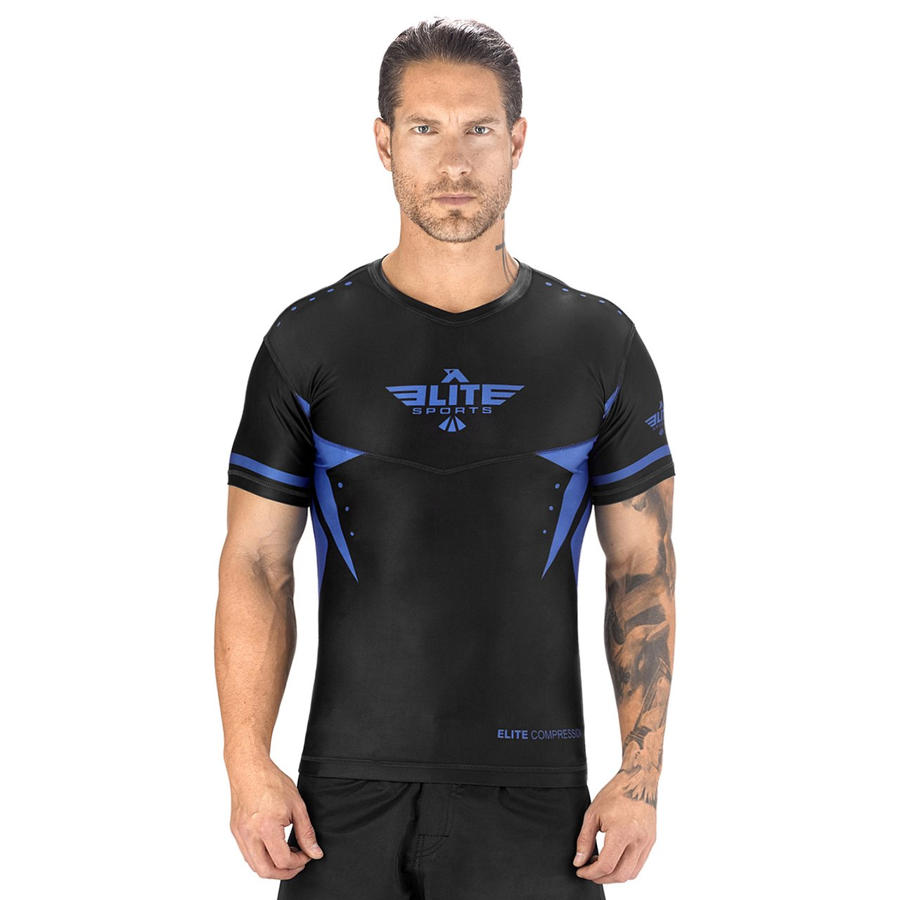 Load image into Gallery viewer, Elite Sports Star Series Sublimation Black/Blue Short Sleeve Brazilian Jiu Jitsu BJJ Rash Guard