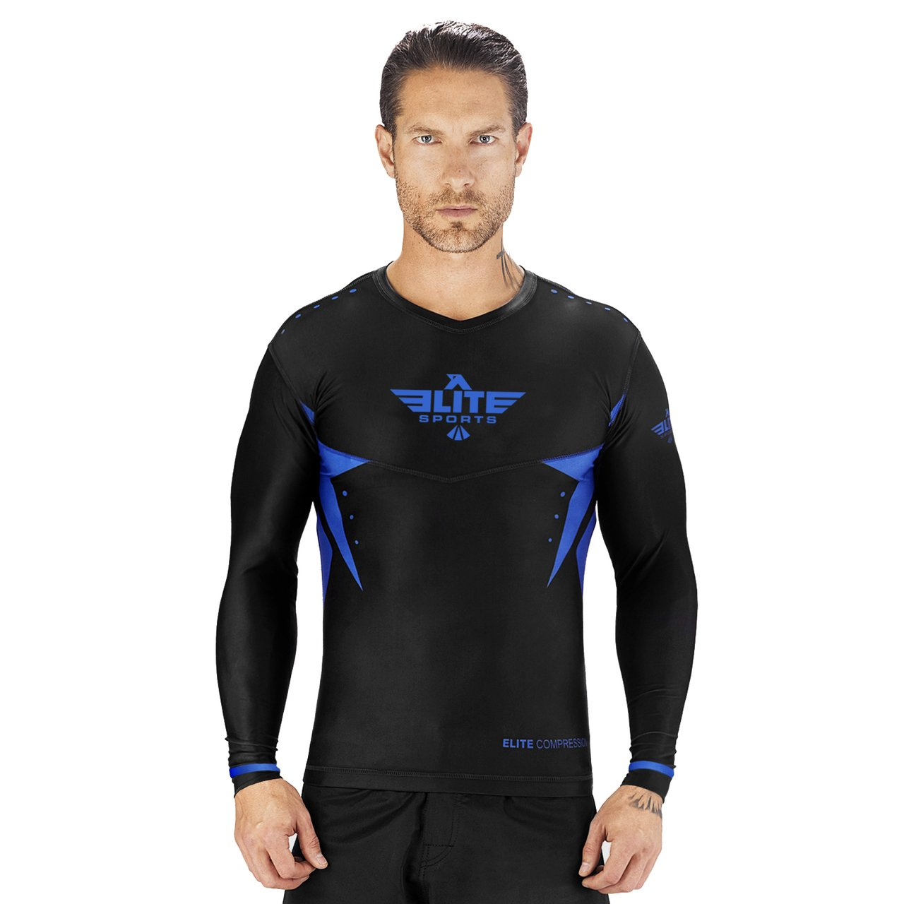 Load image into Gallery viewer, Elite Sports Star Series Sublimation Black/Blue Long Sleeve Wrestling Rash Guard