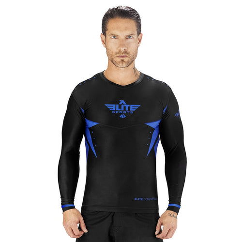 Elite Sports Star Series Sublimation Black/Blue Long Sleeve Muay Thai Rash Guard