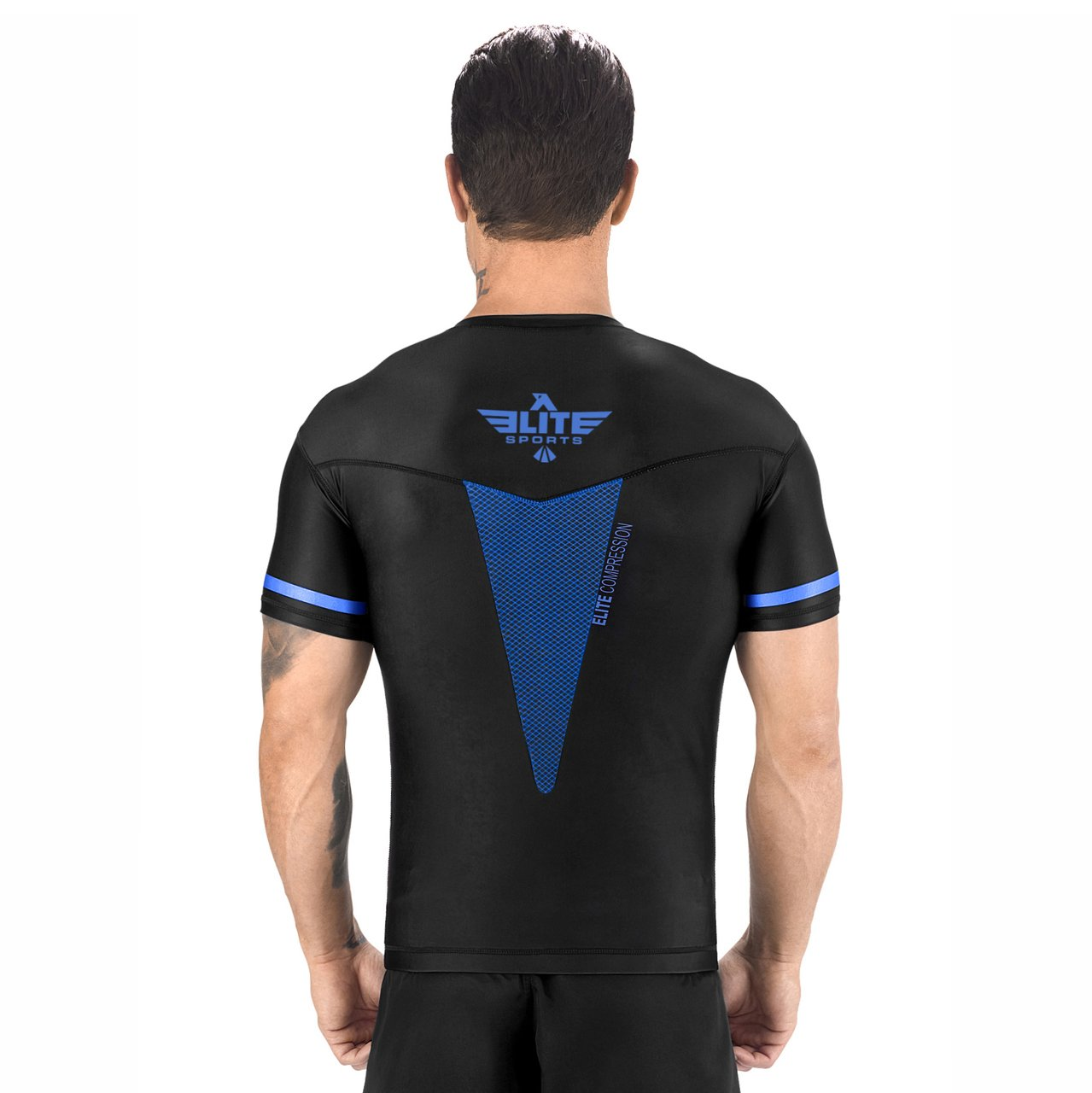 Load image into Gallery viewer, Elite Sports Star Series Sublimation Black/Blue Short Sleeve MMA Rash Guard