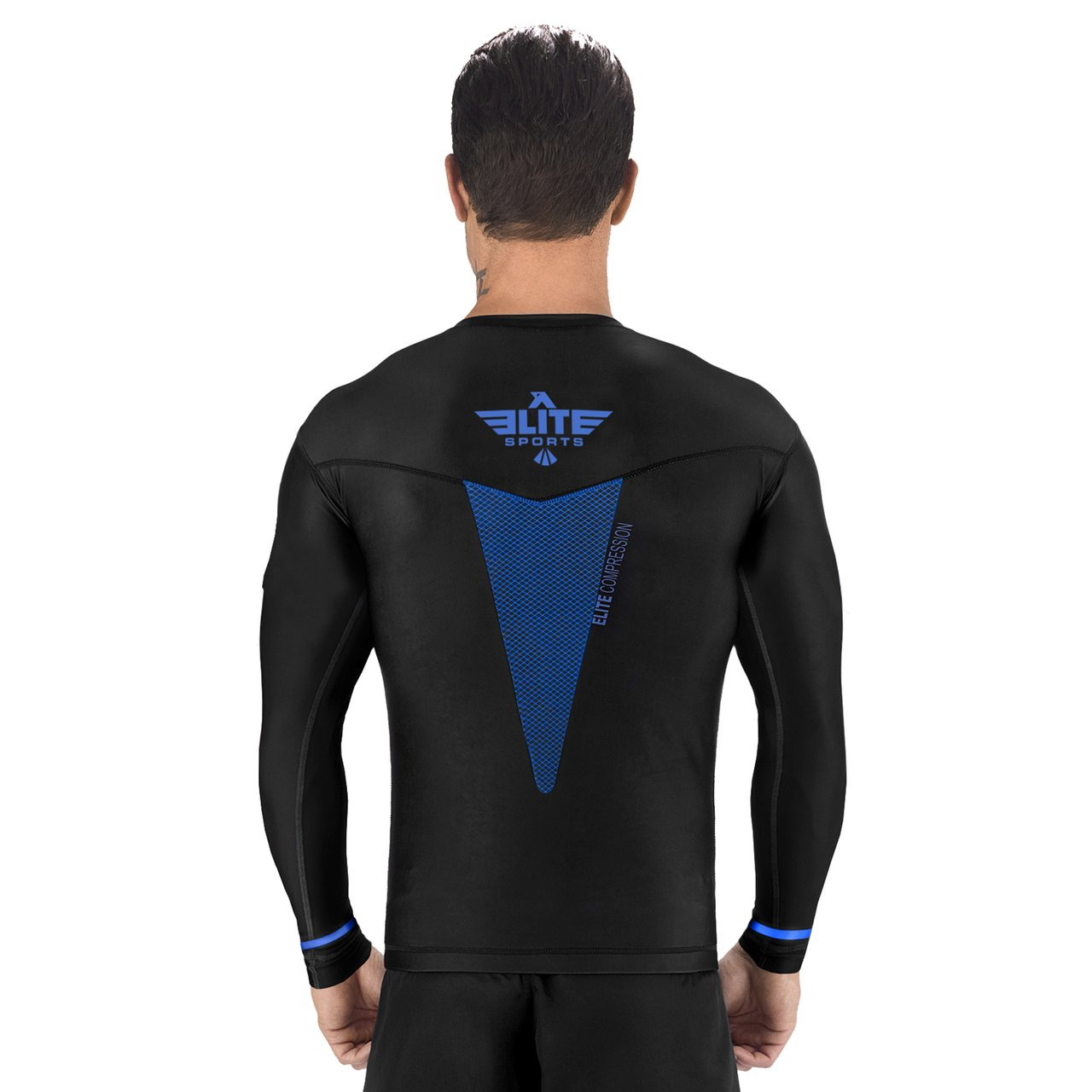 Load image into Gallery viewer, Elite Sports Star Series Sublimation Black/Blue Long Sleeve Muay Thai Rash Guard