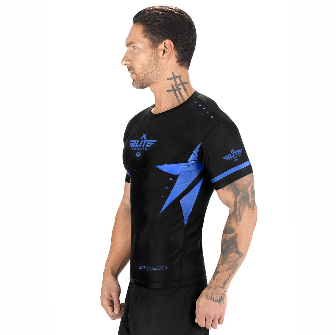 Load image into Gallery viewer, Elite Sports Star Series Sublimation Black/Blue Short Sleeve Muay Thai Rash Guard