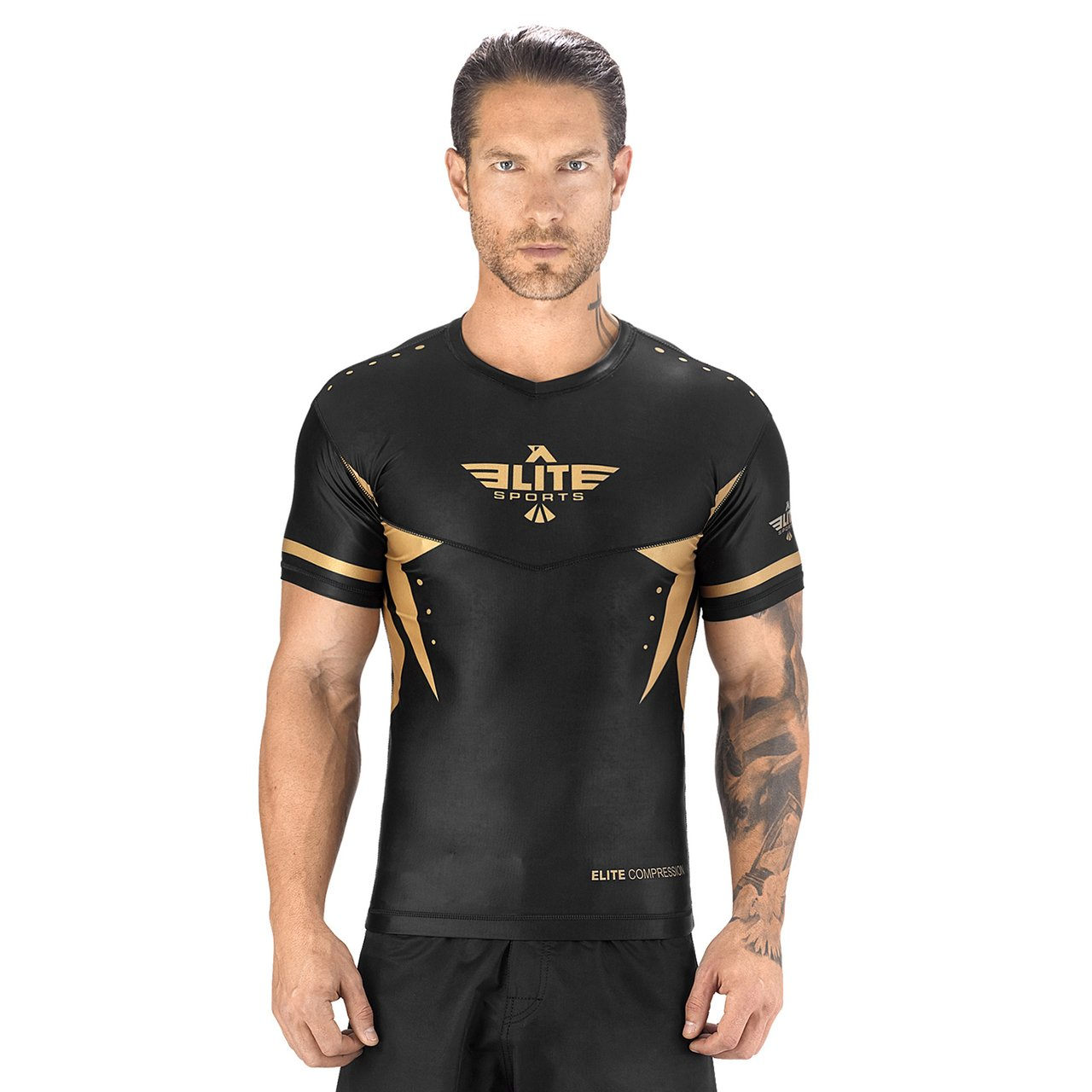 Load image into Gallery viewer, Elite Sports Star Series Sublimation Black/Gold Short Sleeve Rash Guard