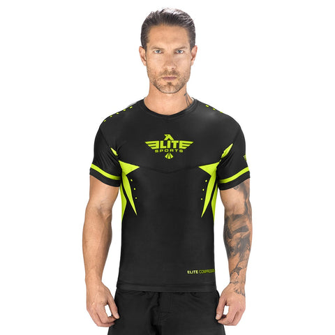 Elite Sports Star Series Sublimation Black/Hi Viz Short Sleeve Brazilian Jiu Jitsu BJJ Rash Guard