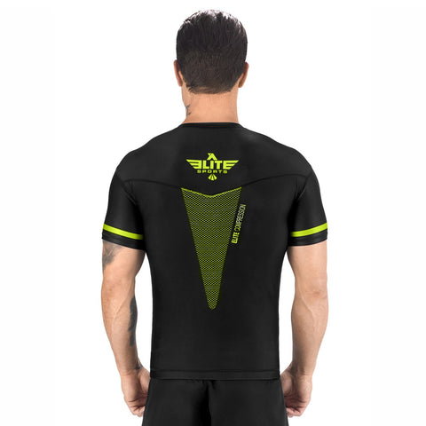 Elite Sports Star Series Sublimation Black/Hi Viz Short Sleeve MMA Rash Guard